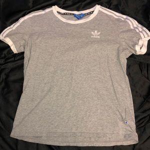 Grey, White Striped Adidas Shirt